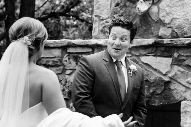 groom's face when he sees bride at first look reveal