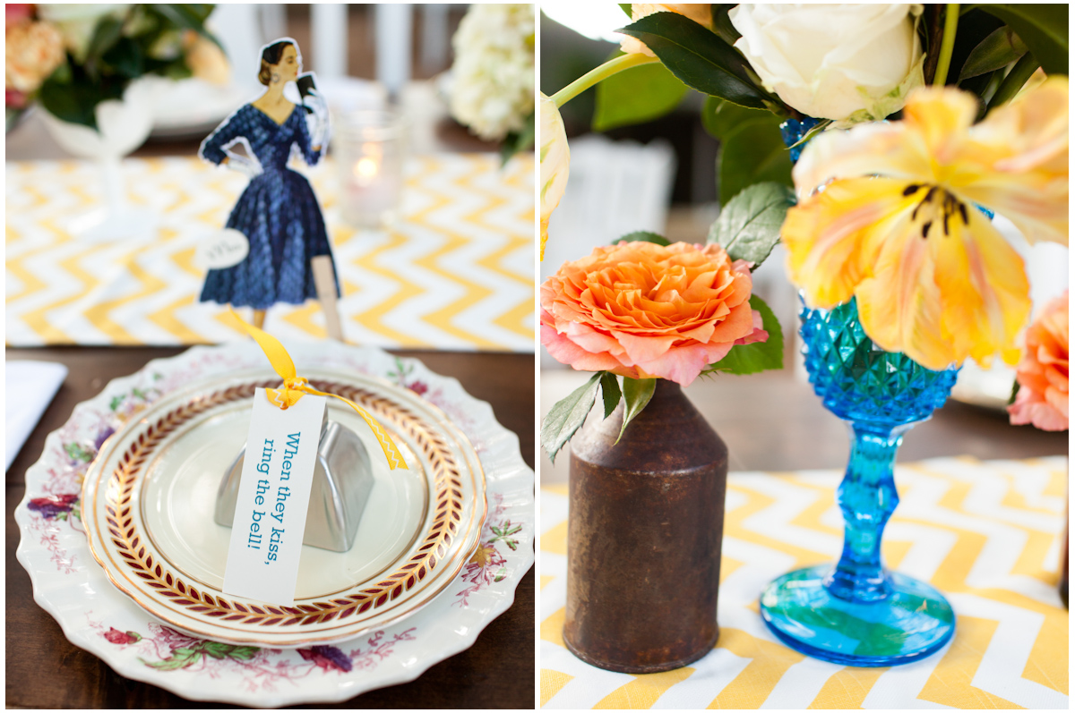 bryd collective, garden roses florals, gold yellow chevron table runner wedding reception centerpieces decor