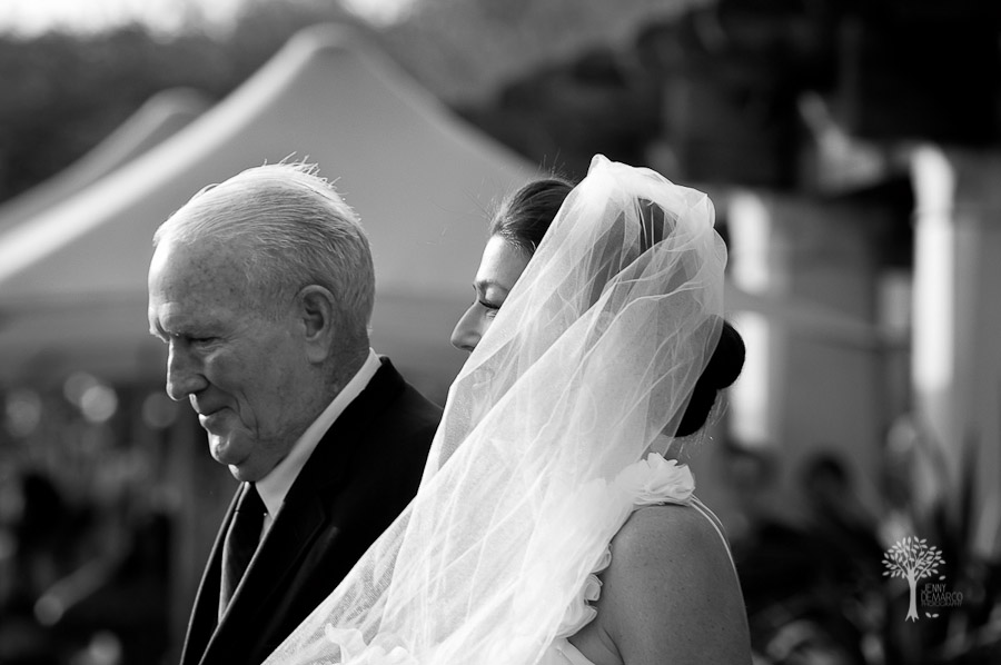 father, bride, isle, entrance, viel, wind, ausitn wedding photographer, four seasons hotel, black and white, san antonio wedding photographer, dripping springs wedding photographer,