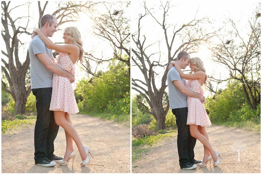 country road, vintage inspired, engagement shoot, austin, pink polka dot dress, flirty skirt, converse shoes