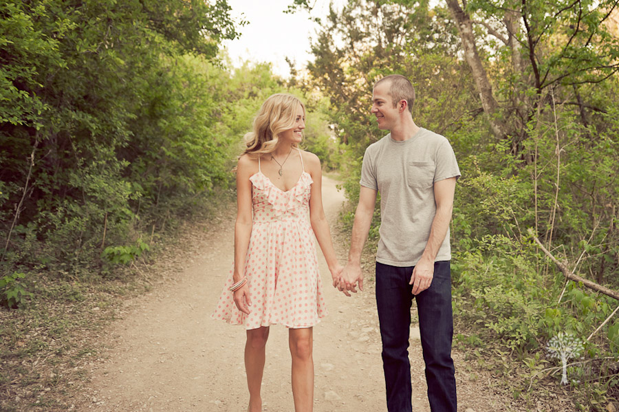 walk in the woods, engagment shoot, session, country inspired, vintage, trees, nature, hill country