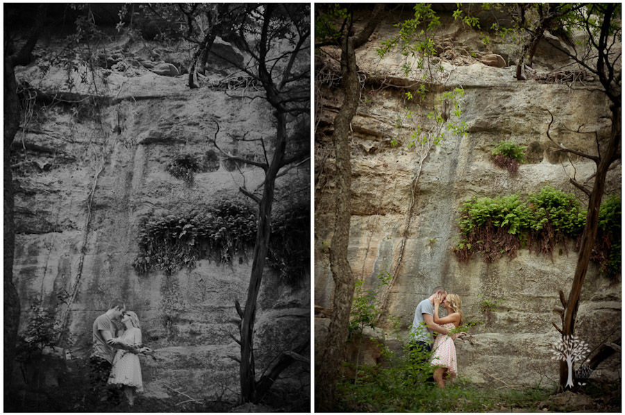 under the water fall, austin wedding photographer, passion, love, vintaage, nature, trees, rock formation, austin rock