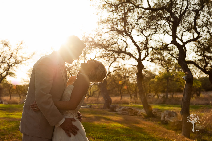 Bride and Groom, Portrait, Austin Wedding Photographer, New Braunfels Wedding Photographer, Boulder Springs, Rocks, oak tress, laughing, joy, sunrays