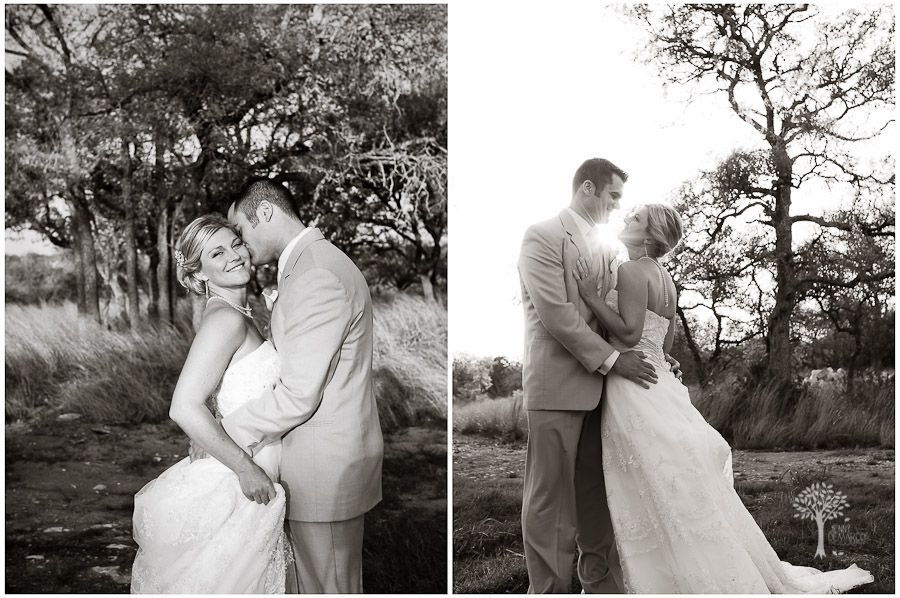 Black and White portraits of the bride and groom at wedding in New Braunfels at the Boulder Springs Event Center. Wedding Photography by Jenny DeMarco. Fine Art Wedding Photography in Austin Texas