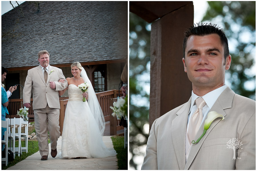 Bride and father walking down the aisle, Grooms face when he sees the bride, Austin Wedding Photographer, Jenny DeMarco, www.jennydemarco.com,