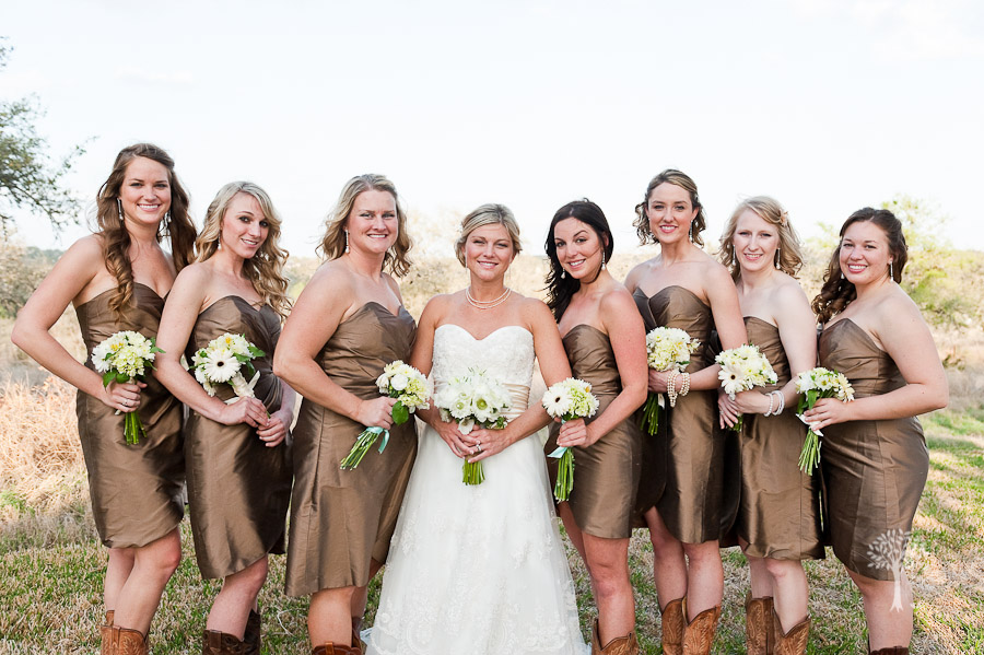 Bridesmaids, copper, wrap dress, white, bouquets, daisies, Simple white calla lilies look modern with their touches of greens on the ends. white dahlias An all white bouquet can be as bold as a colorful one -- this one has sleek calla lilies, sweet lily of the valley, soft lisianthus, and lush peonies.