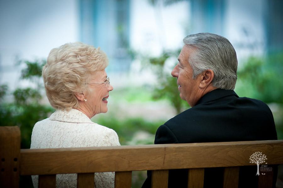 San Antonio Wedding Photography, Hyatt Regency, Hill Country Resort, Wildflower Spa, Wedding, grandma and grandpa on a bench