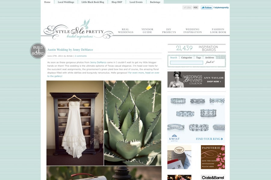 Featured on Style Me Pretty :: Austin Wedding Photographer