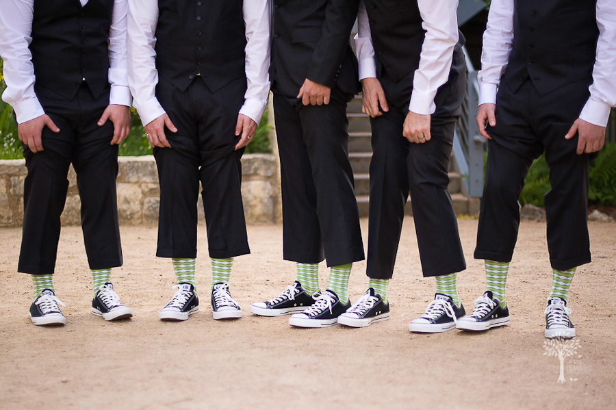 Wildflower Center, Austin Wedding Photographer, socks, groom, green, black, all star, converse