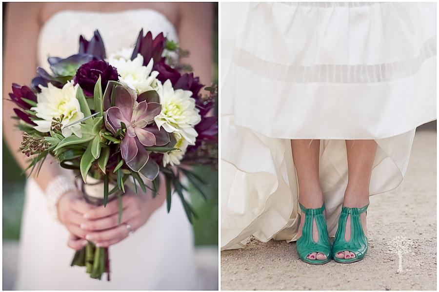 Wildflower Center, Austin Wedding Photographer, succulent bouquet, green wedding shoes, leather shoes, Adele Wechsler, raw silk gown