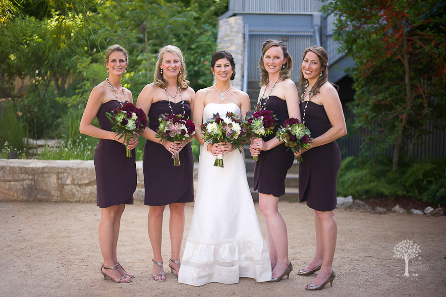 Wildflower Center, Austin Wedding Photographer, bridesmaids, brown,