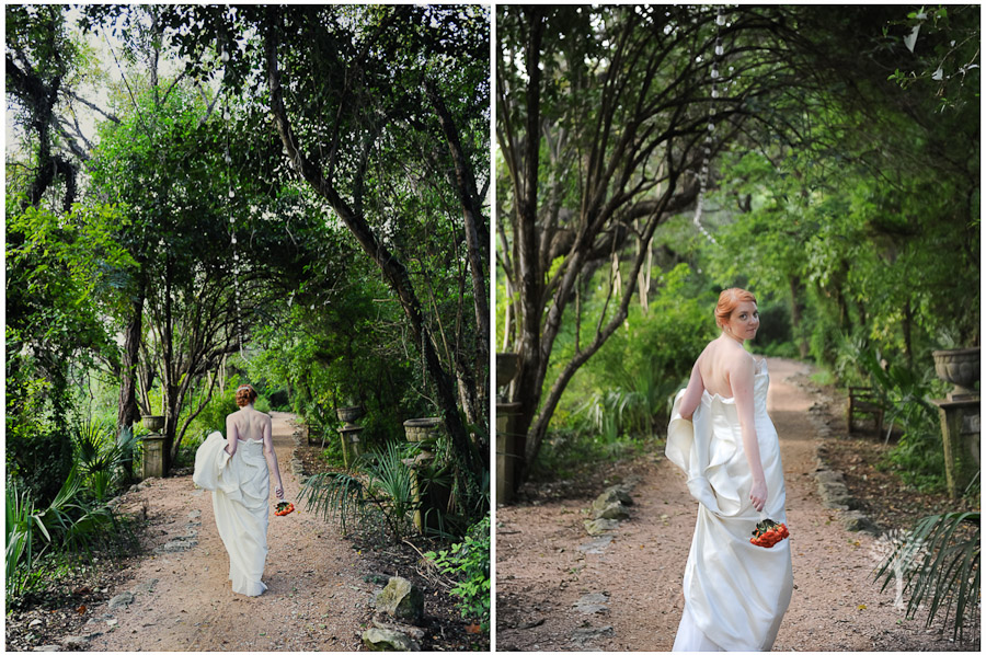 Christina walks the breath taking tree trails along Lake Austin at Laguna Gloria.
