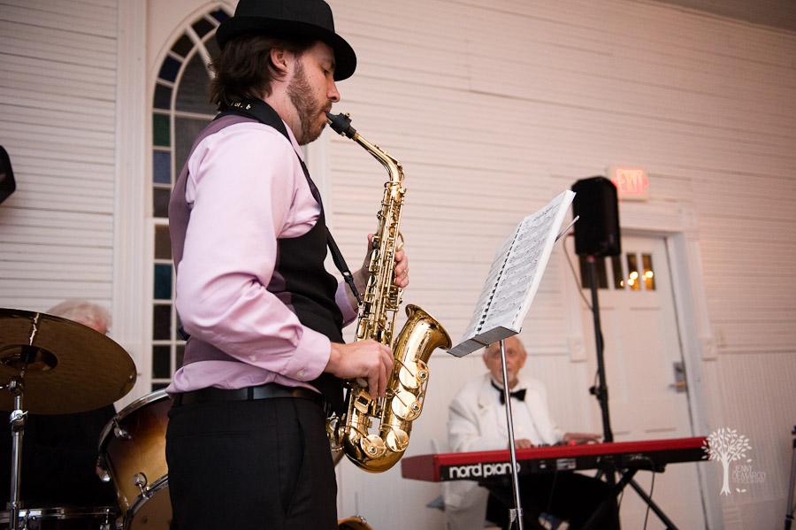 jazz, wedding, mercury hall, saxophone, shabby chic,