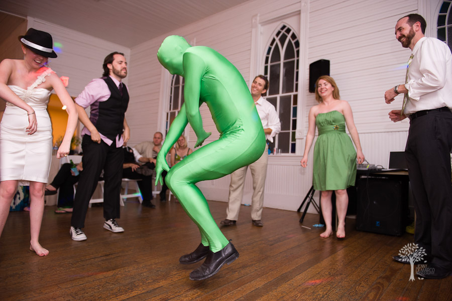 Green suite, quirky, Austin wedding,