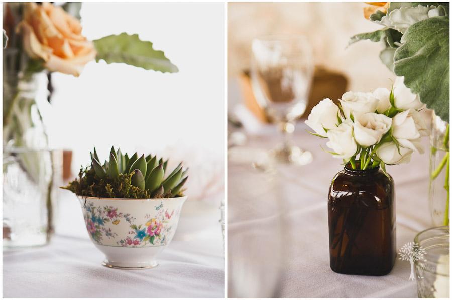 vintage, china, antique, succulents, wedding details