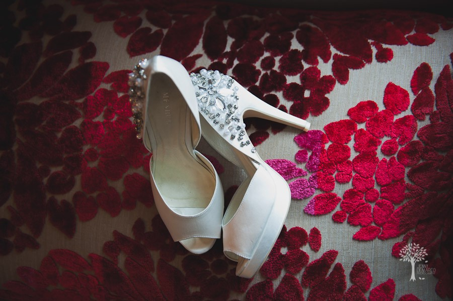 The bride's gorgeous diamond shoes against the stylish red carpet at The W Hotel in Austin, Texas.