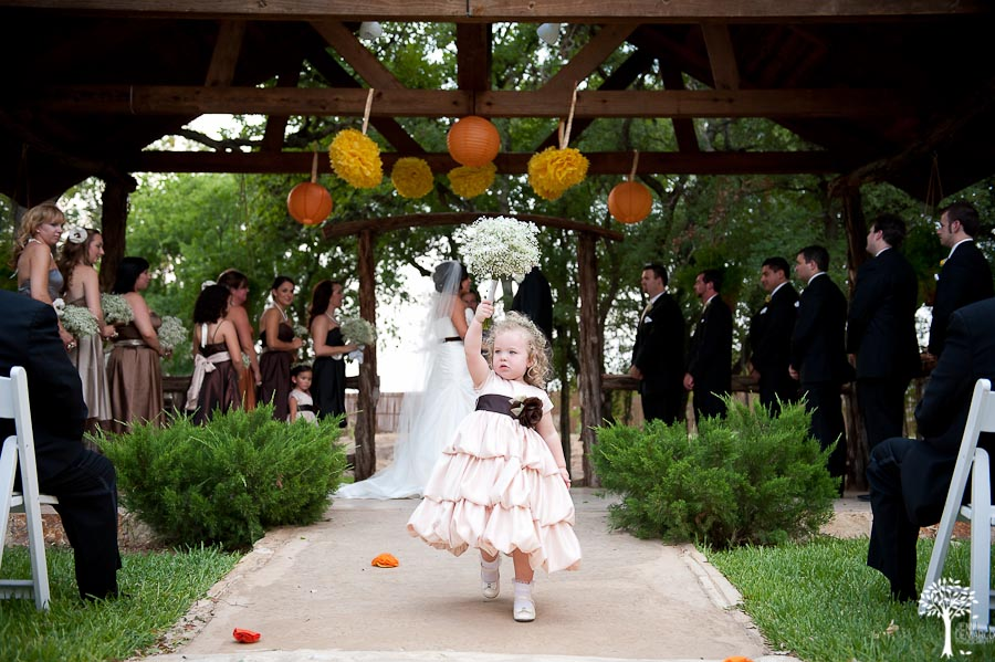 Mia Garza, John McCord, Texas Old Town, Wedding, throwing the bouqet, flower girls, little doll dress, champagne dress, outdoor wedding, fall wedding