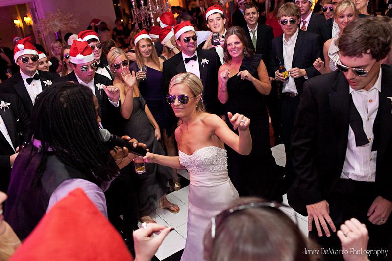 The bride being serenaded.
