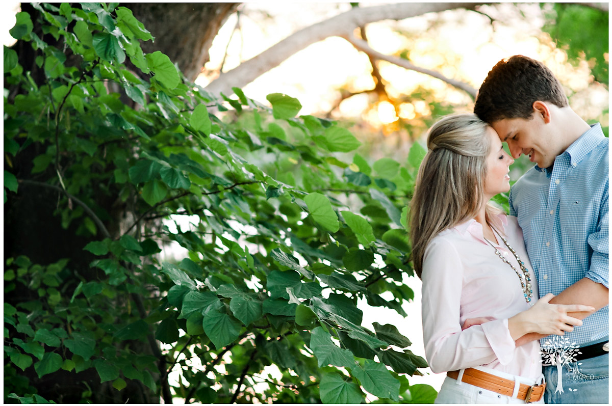 romatic green landscape and sunset engagment photos