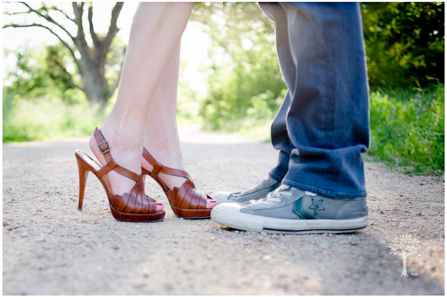 bride and groom's shoes at the engagment session