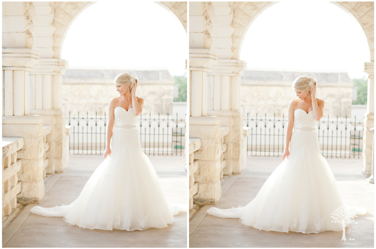 romatic and classic bridal portrait at the Chateau Bellvue in Austin