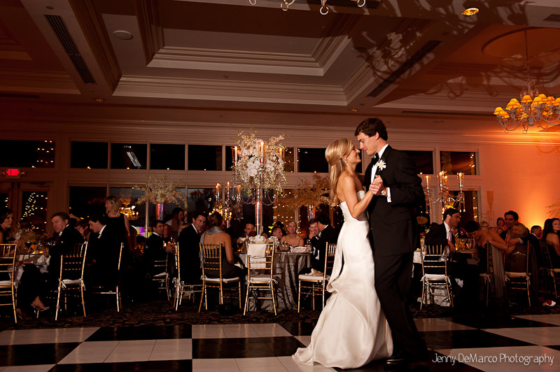 The bride and groom having their first dance at the Austin Country Club.