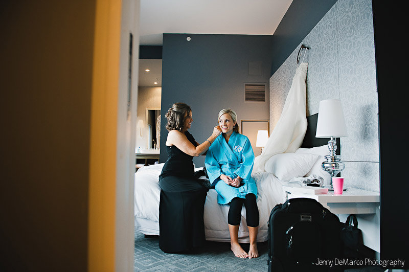 Sarah's bridesmaids help her get ready for the big day at The W Hotel in Austin, Tx.