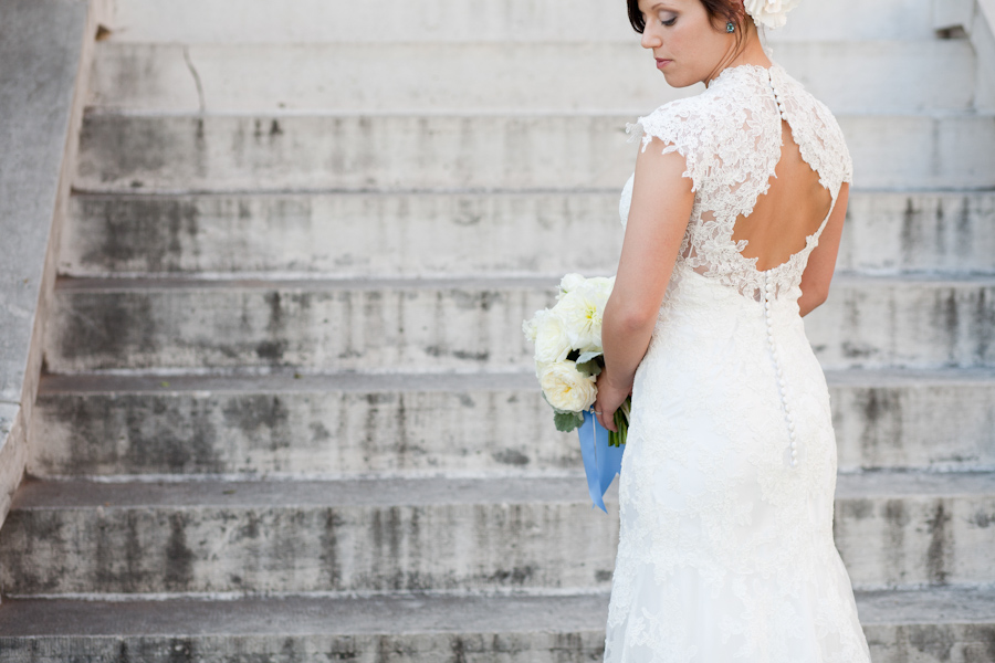 open back lace bridal gown at the Mansion at Judge's Hill in Austin