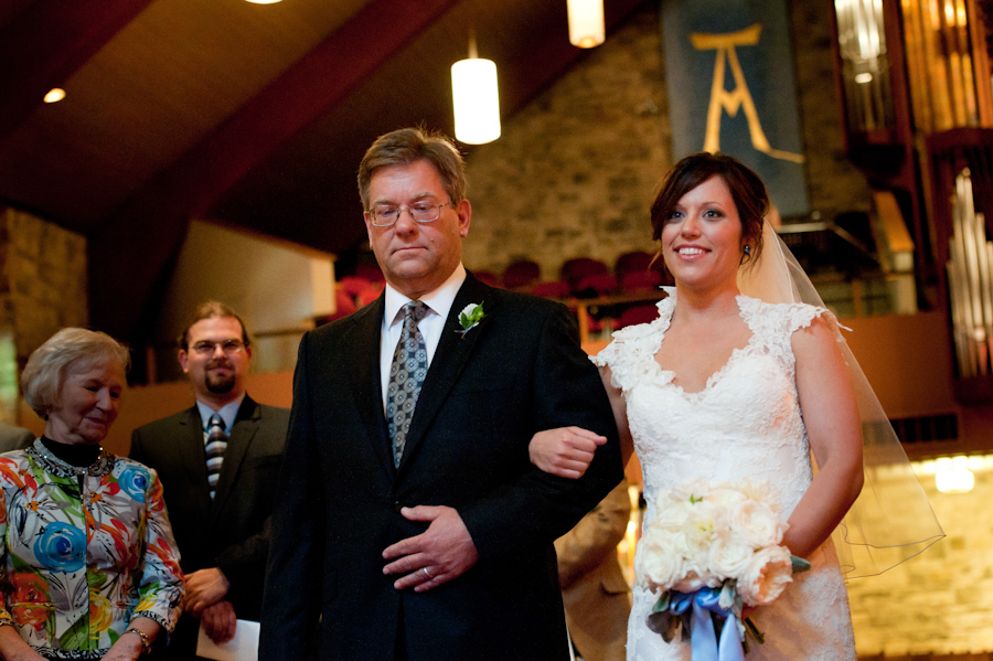 bride walk down the aisle at Redeemer Lutheran Church