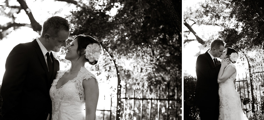 black and white portraits of Katy and Chad in front o the Allan House side entrance