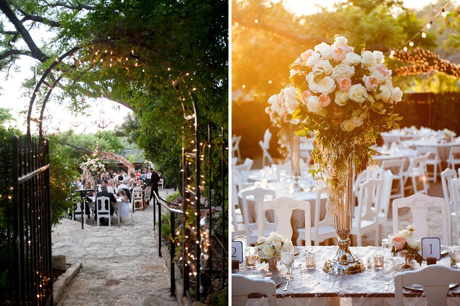 Vintage silver floral vase for head table centerpieces and beautifully lit archway entering into the garden reception at The Allan House.
