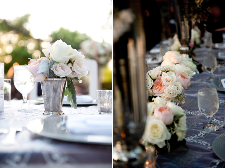 pastel florals, pinks, silver vintage vases, metalics and pastels, head table