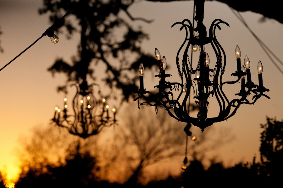 Silhouette of the chandeliers at sunset at the Allan House.