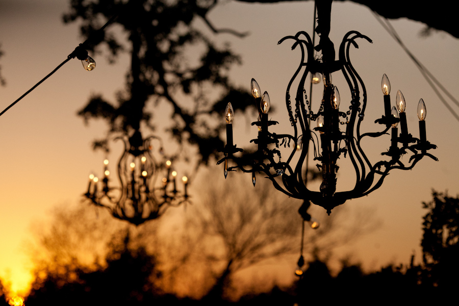 silloutte of the chandeliers at sunset at the Allan House