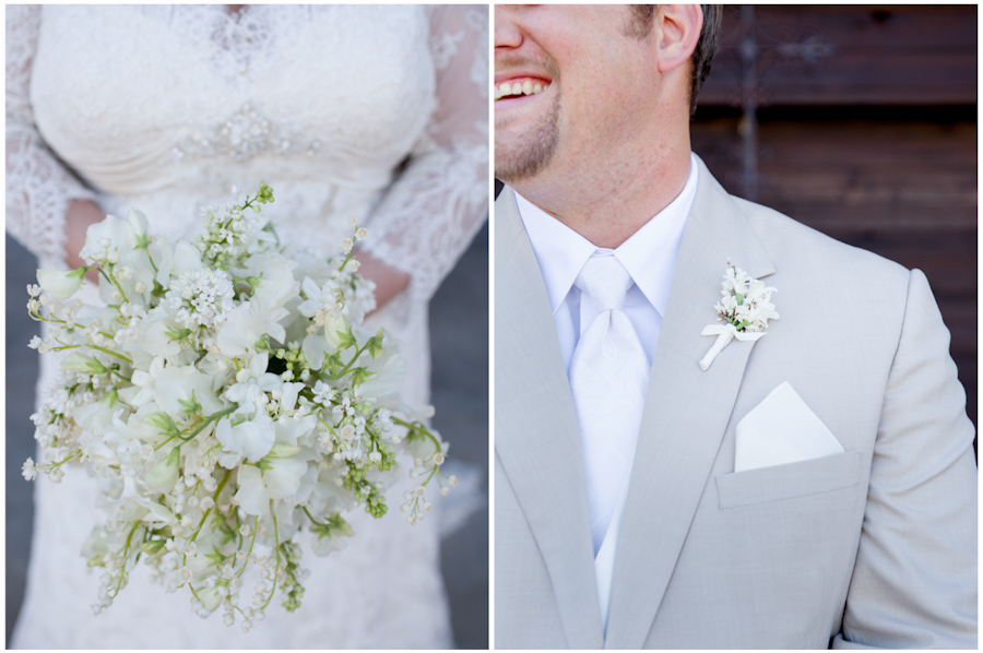 white florals with Allure Couture gown and groom's tax suit