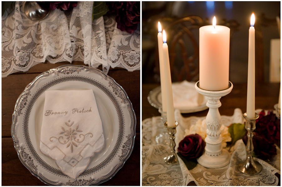 vintage emboirdered napkins and matching china, white painted shabby chic candles