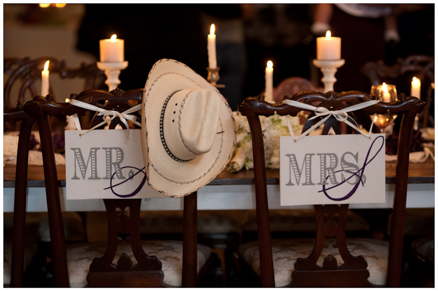 cowboy had at bride and groom place setting on antique head table