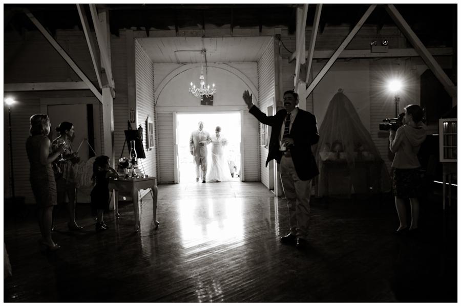 bride and groom entrance to la Grange fair pavillion