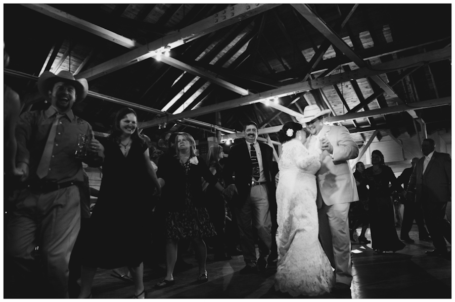 bride and groom's first dance inside historic texas czech dancehall