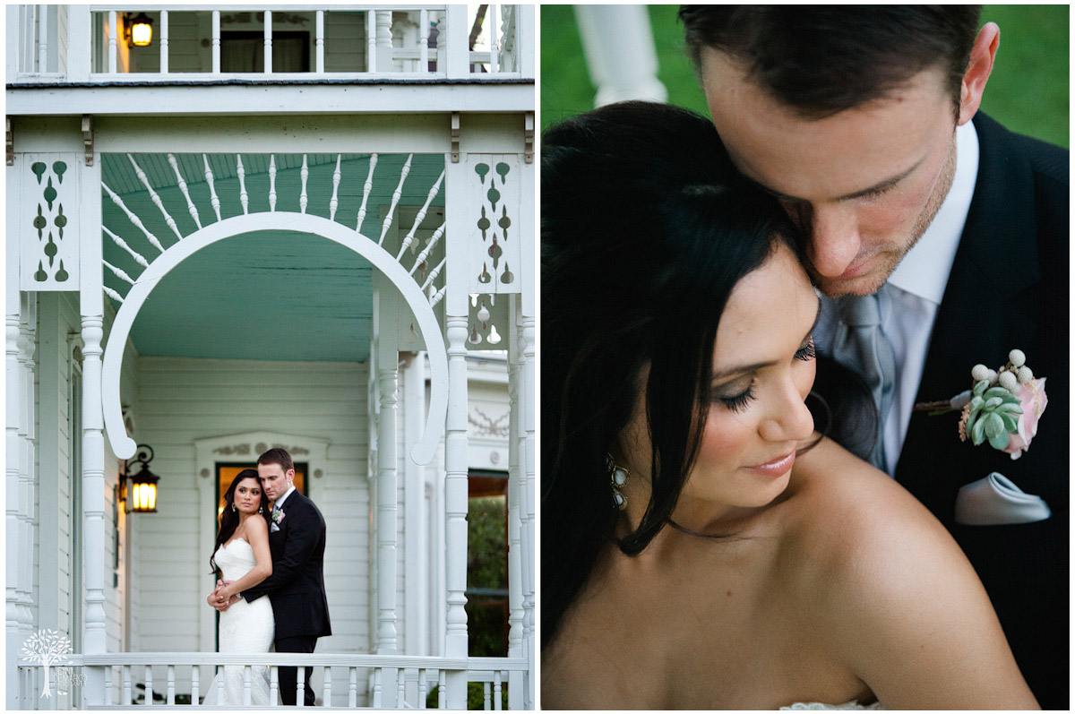Bride and groom on the romantic historical southern charm mansion covered porches