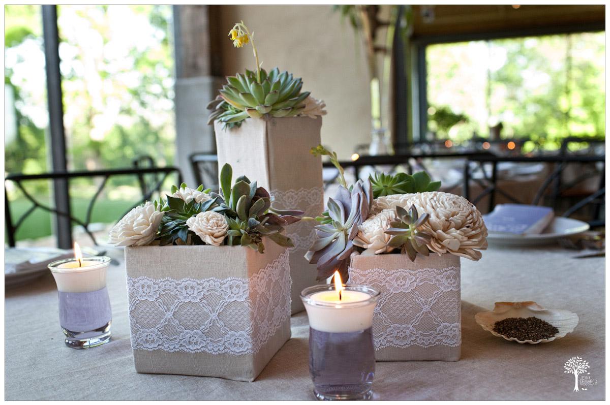 succulents and balsa wood florals