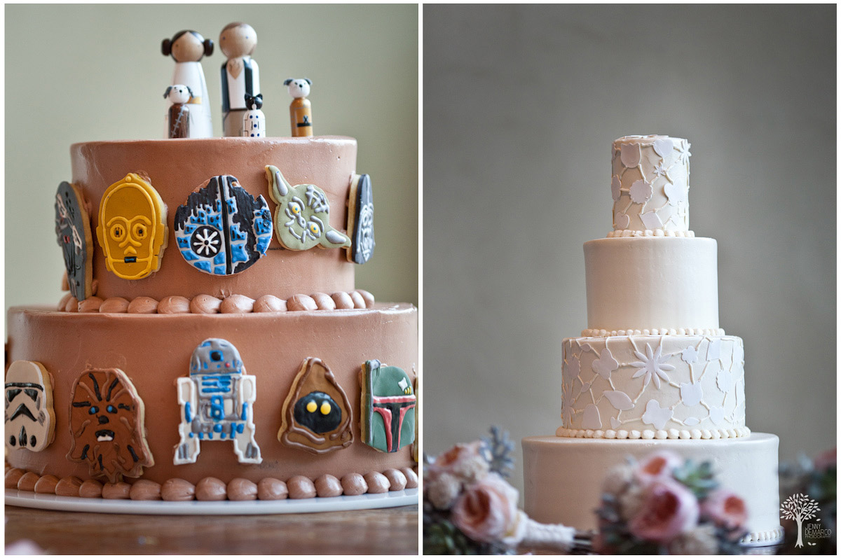 grooms cake with star wars theme and papel picado wedding cake both made organic