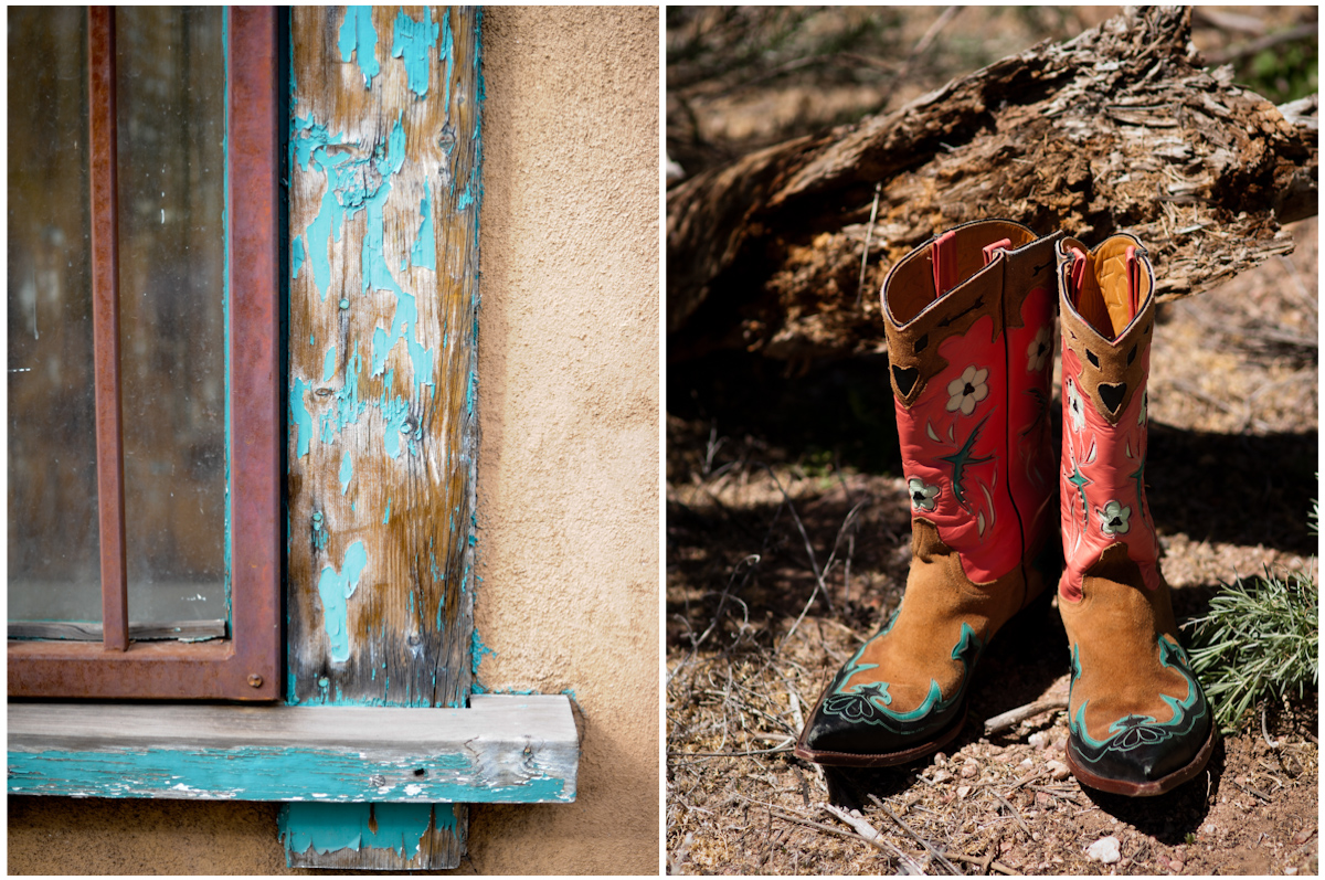 The bride wore colorful boots to the wedding, Also pictured distressed tourquiose window frame