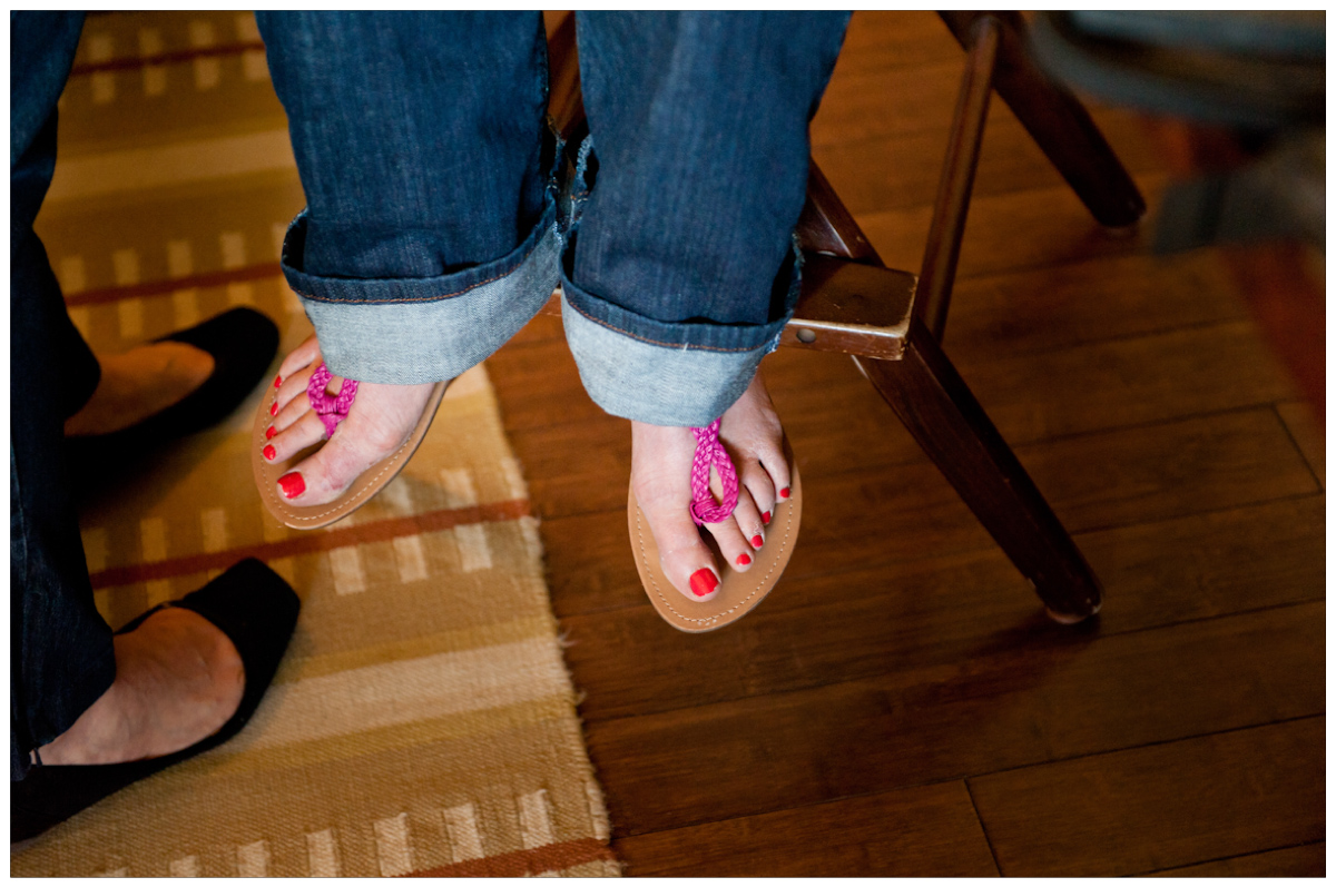 brides coral painted toesnails
