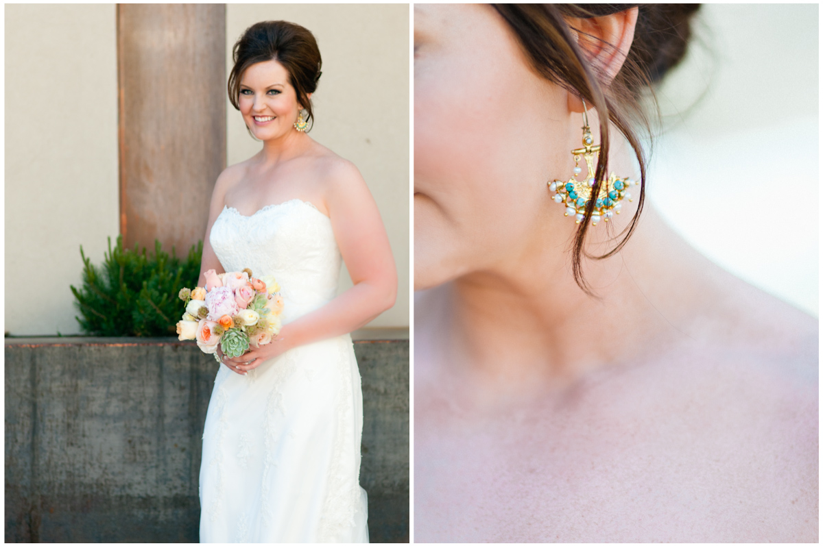 bridal portrait and beautiful turquoise and gold earnings