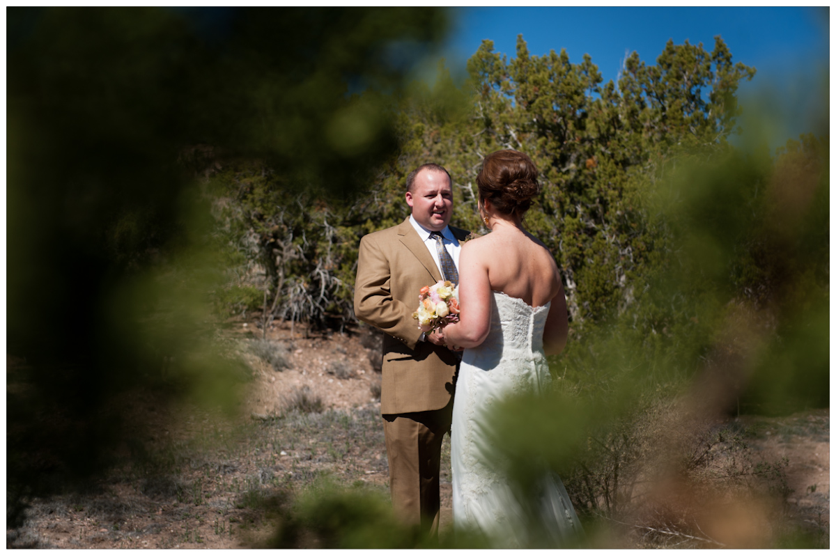 Bride and Groom first look in the santa fe desert