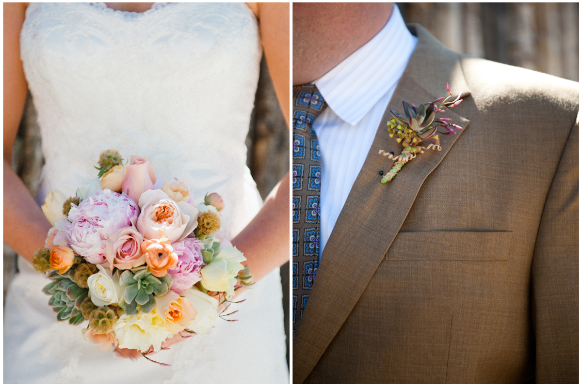 bridal bouquet and grooms boutineer