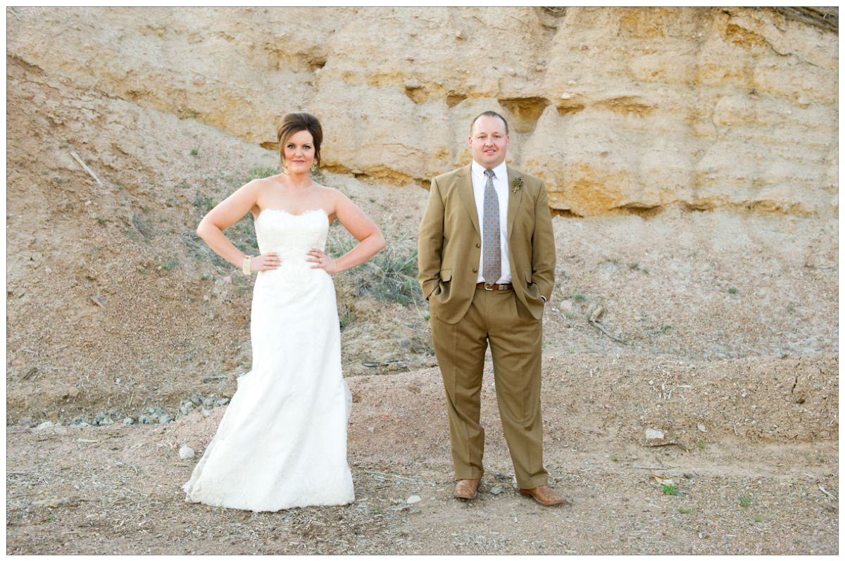 bride and groom portraits in the desert