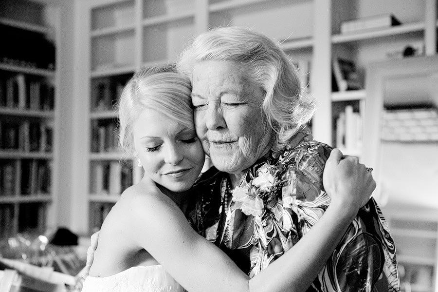 grandma and bride hugging, tender moment