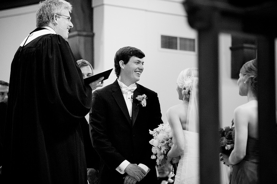 groom laughing during ceremony at Westminster Presbyterian